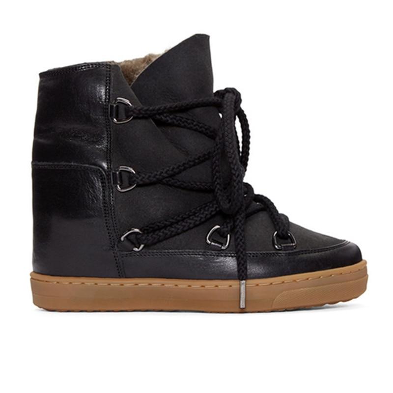 Женские ботинки на шнурках Bota feminina, черные, коричневые, ковбойские ботинки, увеличивающие рост