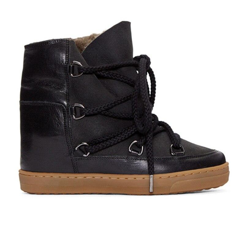 Bota feminina peluche à lacets bottines pour femme punk chaussures hauteur augmentant bottes de pluie noir marron cowboy bottes femme 2020 - 3