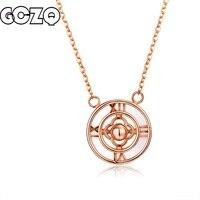 GCZQ 100% подлинное 18 K золотое ожерелье с подвеской для женщин римская звезда диск цепочка, ювелирное изделие из драгоценных камней модное ожер