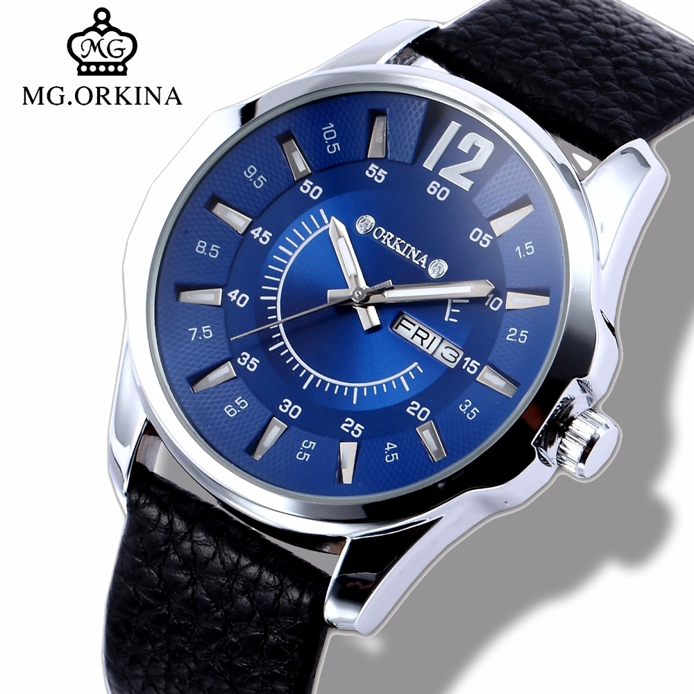 Mens Business Dress Quartz Watch Men Mg.orkina Classic Auto Day Date Black Leather Japan Quartz Movement Clock Men Wrist Watches auto date homme men s watch japan quartz hours fine fashion dress clock retro bracelet leather business father s day gift