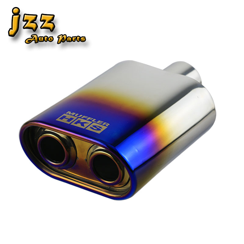 JZZ Универсальный Овальный автомобильный выхлопной трубы сгорел синий фиолетовый цвет в мм 51 мм Впускной кончик 138 мм прямой-через выхлопную ...