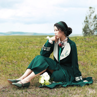 MX227 Autumn 2017 New Arrivals Vintage Embroidered Women Long Dress Coat Two Piece Set