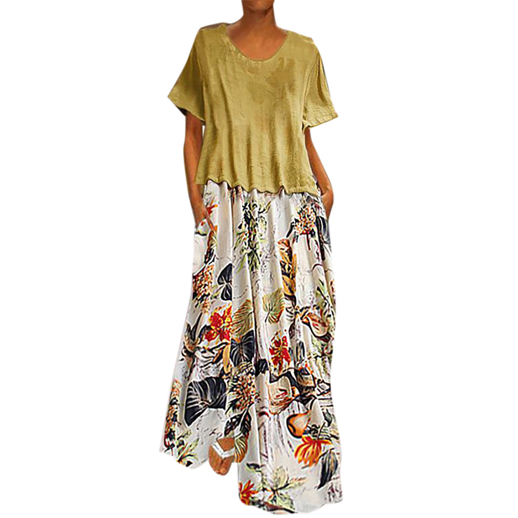 fa8d643c4875 Women Casual Vintage Summer dresses Printing Patchwork O-Neck Two Pieces  Plus Size Pockets Maxi