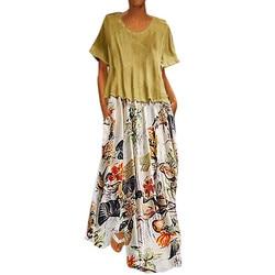 Damska na co dzień w stylu Vintage, lato suknie drukowania Patchwork O-Neck dwa kawałki Plus rozmiar kieszenie Maxi lniana Sukienka Sukienka #7 1