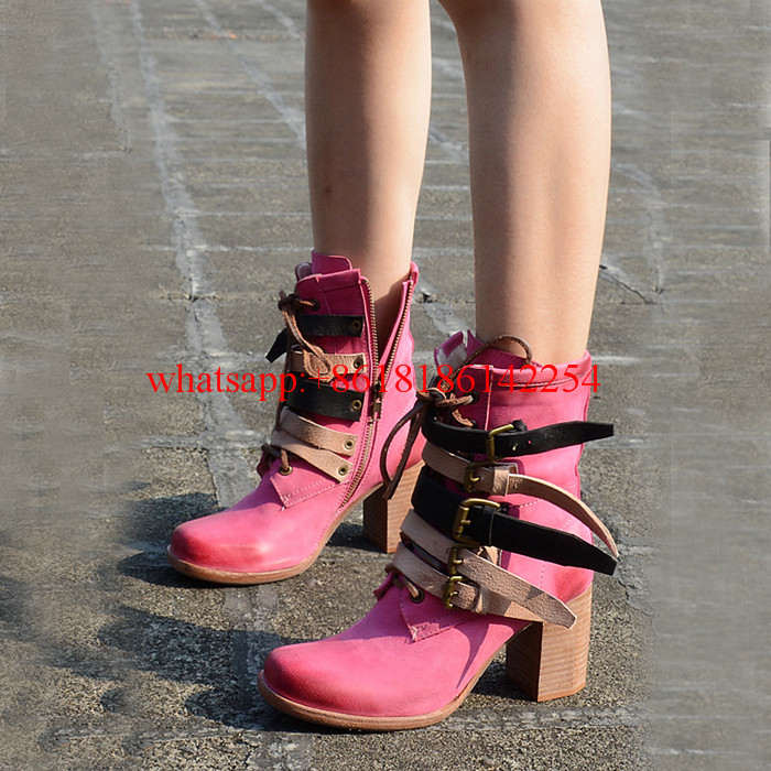 Autumn/Winter New Women Boots Thick High Heels Square Toe Ankle Boots Genuine Leather Thick Square Heel Fashion Boots