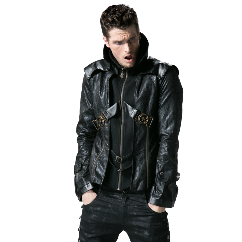 Здесь продается  Steampunk Military Uniform Autumn Winter Punk Men Short Jacket Fashion Overcoats Gothic Retro Style Casual Men Handsome Coats  Одежда и аксессуары