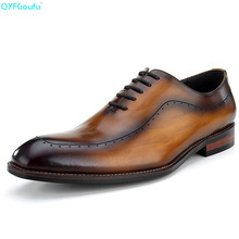 Genuine Leather Engraving Formal Men Dress Shoes High Quality Italian Handmade Famous Luxury Designers Wedding