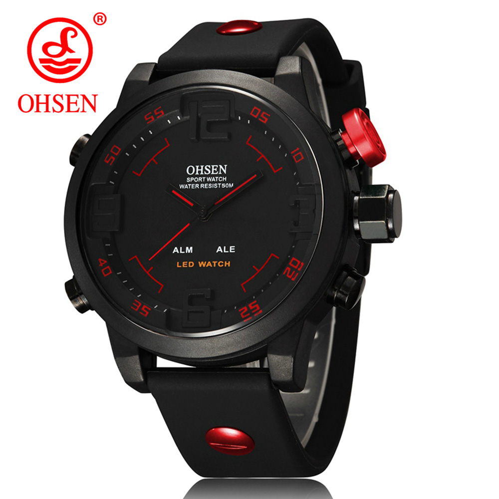 OHSEN Men's Sports Watch with gift box Military Brand Waterproof led Digital Quartz Silicone Watches Mens Relogio Masculino 2016 ohsen brand new analog digital led military watch relogio masculino wristwatch waterproof dive swim for men sports watches