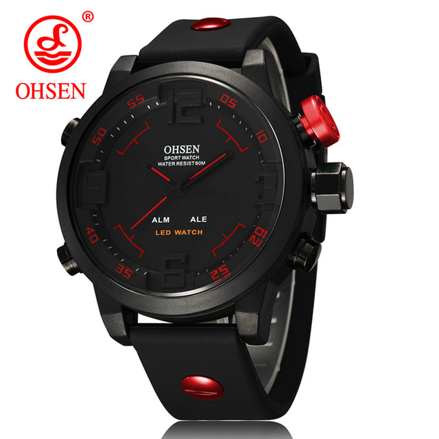 OHSEN Relogio Masculino Mens LED Digital Sports Watch with gift box Military Top Luxury Brand Waterproof Quartz Silicone Watches