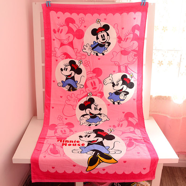 Minnie Marie Cat Pink Towels Gift Girl Printed Handkerchief Children Cotton Towel Big 75*150cm Nursing Toweling Beach / Bathroom