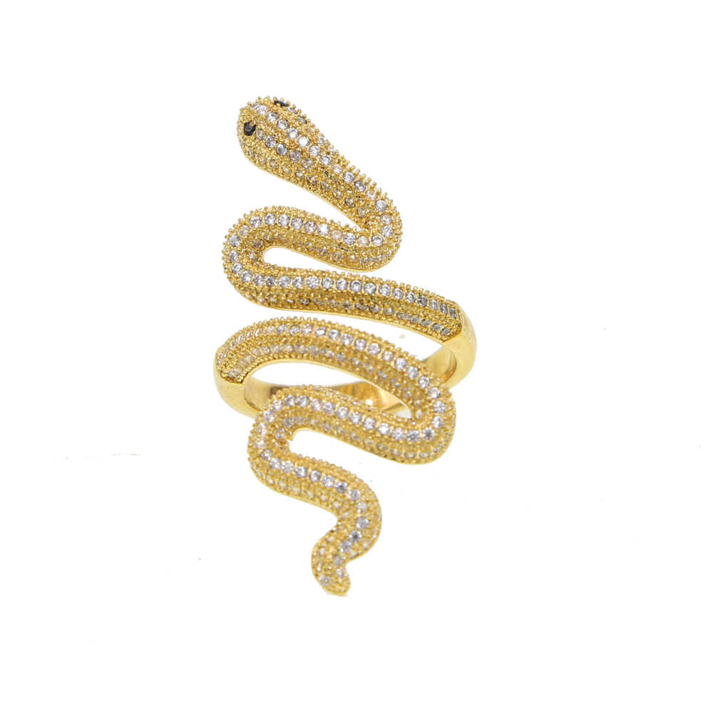 למעלה איכות זהב צבע מעוקב Zirconia קריסטל נחש אצבע טבעת מצרים מונקו נשים חם אופנה יוקרה רוק תכשיטי עיניים שחורות cz