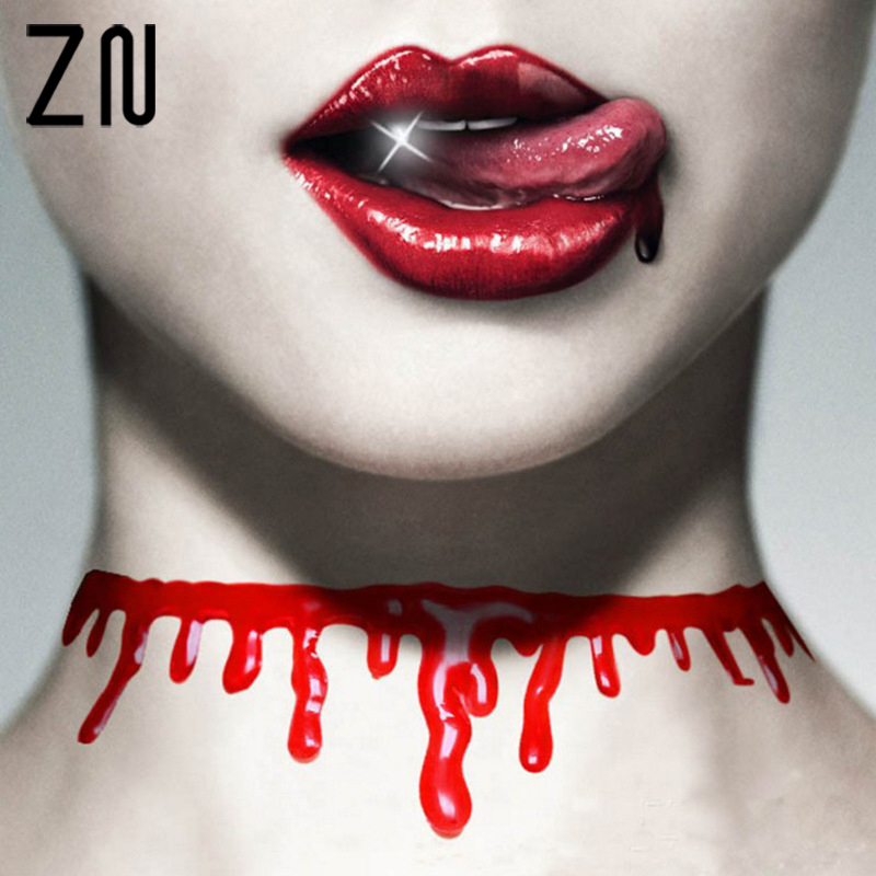 New Style Halloween Bloody Dripping Choke Necklace Halloween Makeup Zombie Costume Jewelry Gothic Necklace