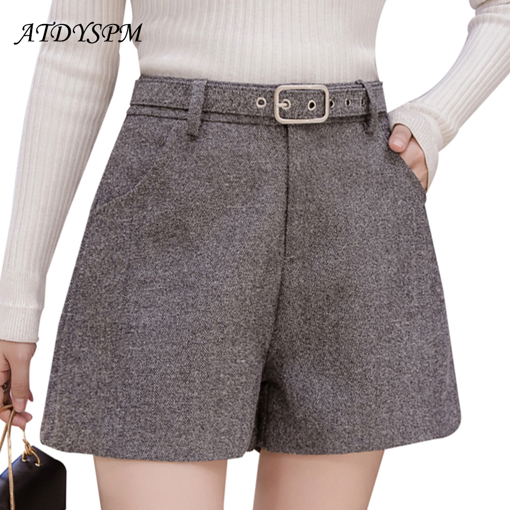 Women's Autumn Winter New High Waist Loose Woolen Shorts Fashion Belt Comfortable Ladies  Office  High Street Casual Shorts