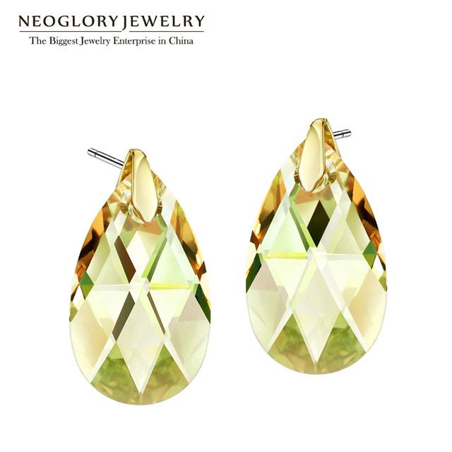 Neoglory jóias áustria cristal amarelo brincos de água para as mulheres do vintage 2017 novos presentes brincos de compras online