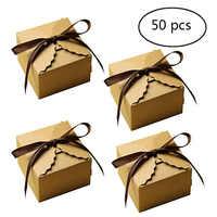50 pcs Vintage Retro Mini Kraft Scatola di Carta di Caramella Contenitore di Regalo di Favore di Cerimonia Nuziale Del Partito di Compleanno FAI DA TE Piccola Torta Scatola di Imballaggio con Nastri