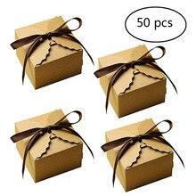 50 шт Винтаж Ретро Мини крафт Бумага Сладкая коробка «сделай сам» День рождения подарок на свадьбу коробка Малый подарочная упаковка с лентами