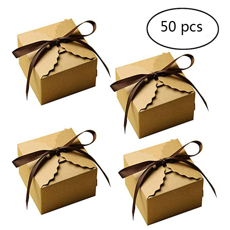 50pcs craft paper bags pillow box gift cake bread candy wedding party favor RF