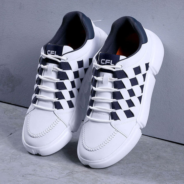 Men Casual Shoes 2019 New Spring Shoe Men Black and White Woven Fashion Shoes Weave Man Sneakers Comfortable Male Shoes Leather