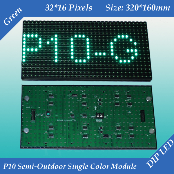 Free shipping 2pcs/lot 320*160mm 32*16 pixels for text message led sign P10 Semi-Outdoor Single Green color LED moduleFree shipping 2pcs/lot 320*160mm 32*16 pixels for text message led sign P10 Semi-Outdoor Single Green color LED module