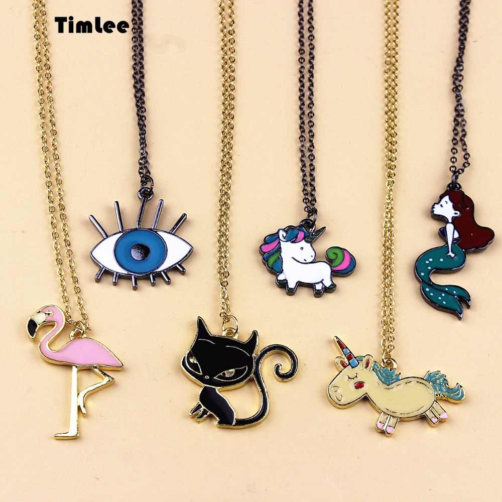 Timlee N056  Free Shipping Black Unicorn Eye Beautiful Mermaid Cat  Bird Cute Necklaces Wholesale