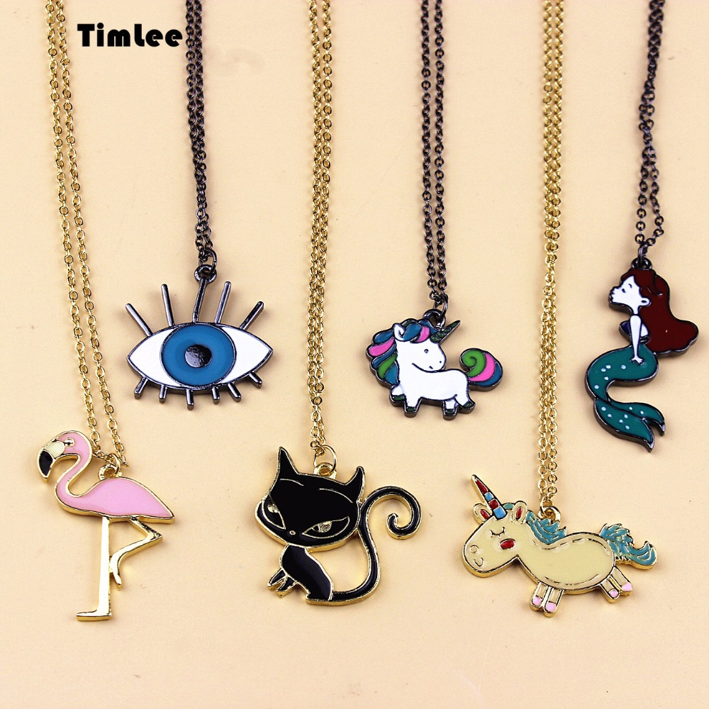 Timlee N056 Gratis levering Svart Unicorn Eye Beautiful Mermaid Cat Bird Cute Halskjeder Engros