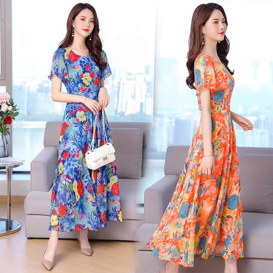 Женские элегантные облегающие вечерние платья 2019, винтажное шифоновое пляжное длинное платье с цветочным принтом, летнее платье 3XL, большие размеры, Boho maxi, сарафан