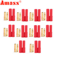 10pair Amass 4.0mm Banana Gold Bullet Connector Plug With Cover/Protecter Case RC Battery ESC Motor Plug(China)
