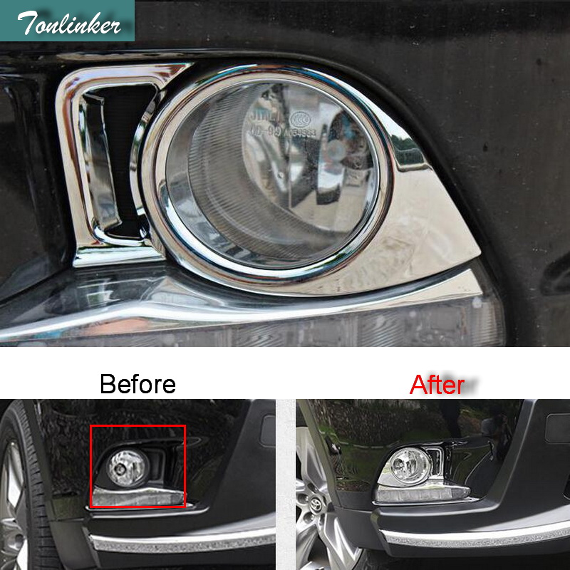 Tonlinker 2 PCS DIY Car styling ABS chrome Front fog lamps decorative light box Stickers for TOYOTA HIGHLANDER 2015 accessories