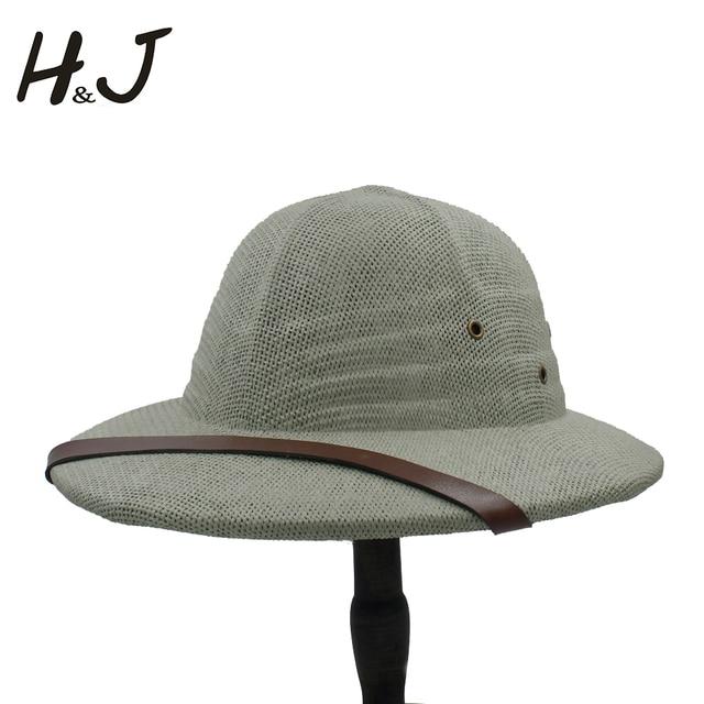 100% paja Toquilla casco Pith Bucket sombreros para hombres Vietnam guerra  ejército sombrero papá Boater e915ad7abbc