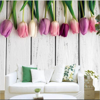 beibehang Wallpaper retro vintage tulip background modern European art murals living room home decoration