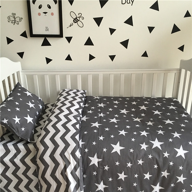ФОТО 3cps/set 100% cotton Ins Hot baby Bedding set include pillowcase flat sheet quilt cover Stripes and stars tree horse 17 styles