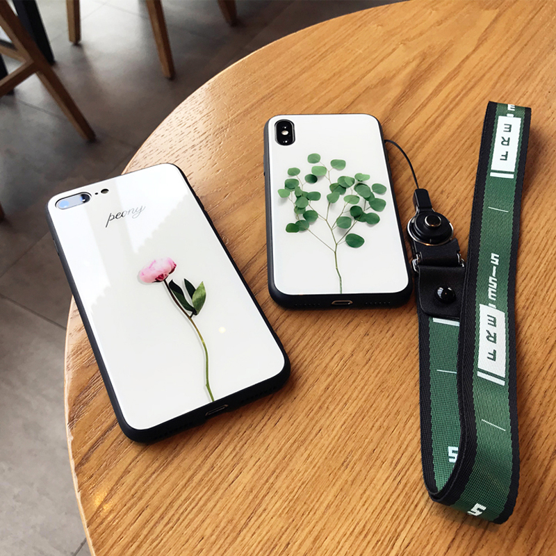 small fresh green leaf glass shell iphone7plus 6S 8p X XS MAX XR mobile phone shell female creative flower rope lanyard neck