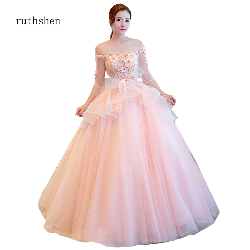 ruthshen 2019 New Fresh Pink Floor-length Party Princess Dress with Sleeve off the Shoulder Prom Dresses with Flower