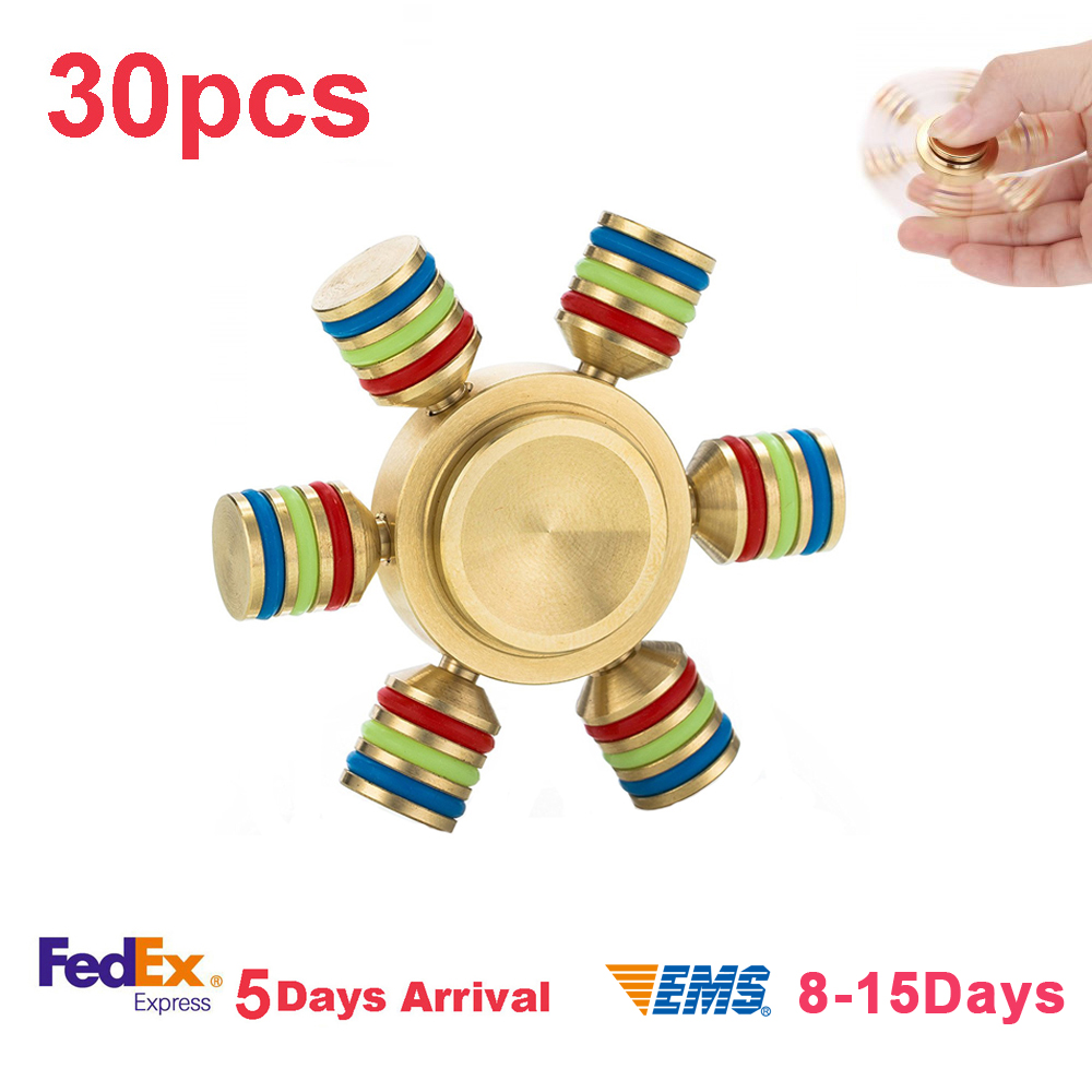 30pcs lot copper gyro Six Finger Hand Fidget Spinner EDC Long time rotation High quality hand