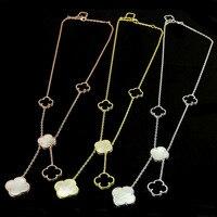 Высокое качество логотипа внешней торговли очарование пять цветы клевера Цепочки и ожерелья цвета розового золота основа Цепочки и ожерел...