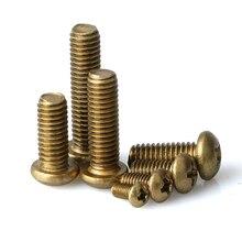 Phillips Brass Pan Head Machine Screw Metric Thread Copper Round Metal Bolt Standard Hardware Fastener M5 M6