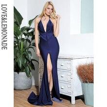 LOVE& LEMONADE Сексуальные темно-синие с глубоким v-образным вырезом открытые сзади облегающие вечерние макси платья из эластичной ткани slm81702