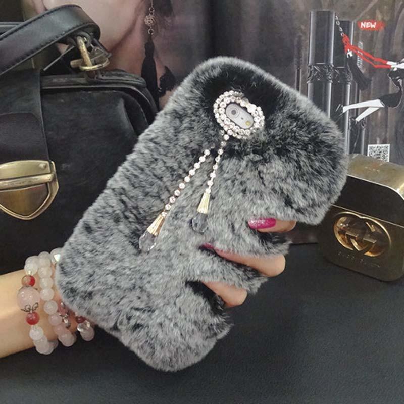 imágenes para Top Genuino Real Rex Rabbit Fur Pelo coque Caso Para LG G3 D855 D852 D851 G4 H815 V10 H960 G Stylo LS770 bling diamante Funda Capa