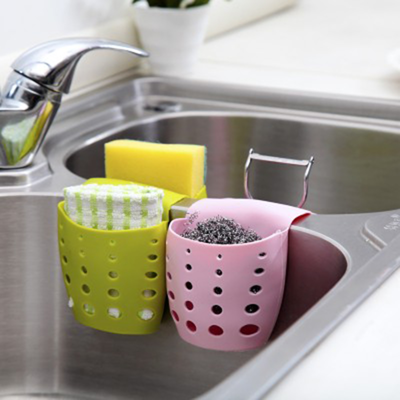 Kitchen Sink Storage Bag Basket Hanger Holder Bathroom Debris ...