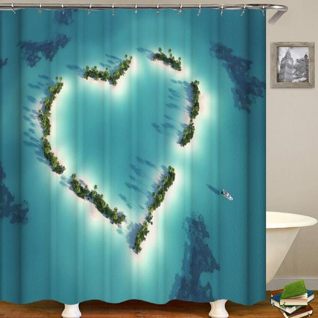 3D Print Love Island Shower Curtain Waterproof Eco Friendly Washable