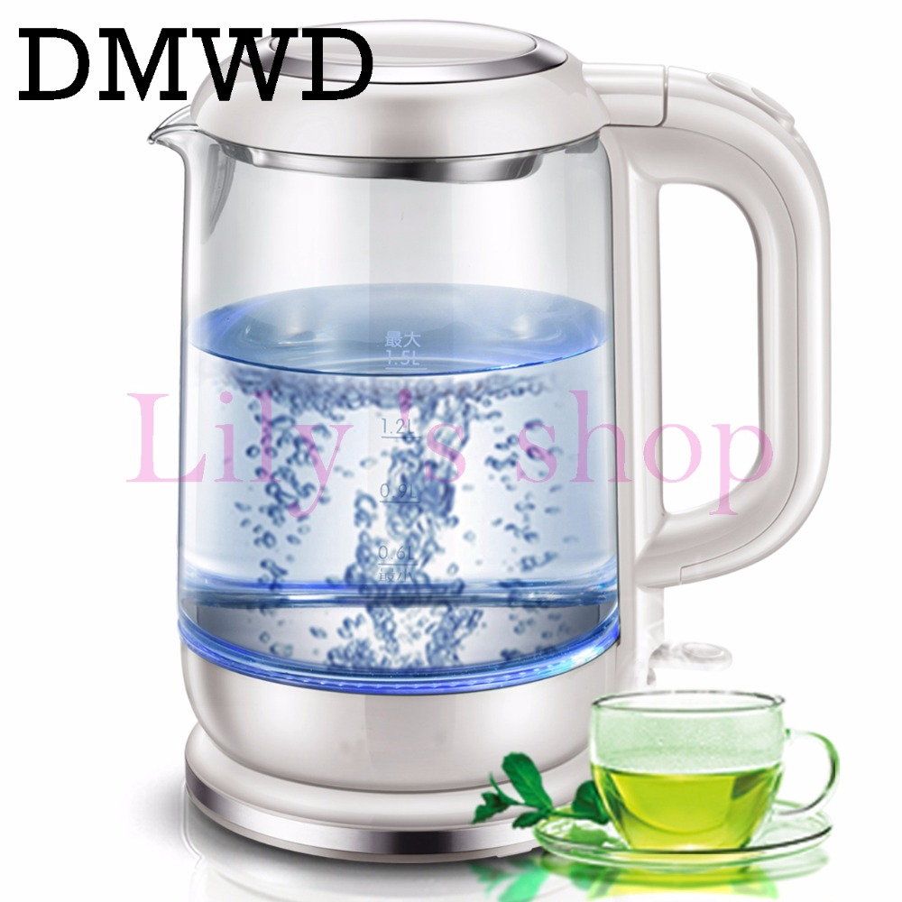 DMWD Electric Kettle blue led Multifunctional Healthy glass hot water boiler 1.5L 1800W Health Preserving Pot Boiling Pot EU cukyi 110v 450w multifunctional electric boiler student dormitory pot noodle electric kettle hot pot 1 2l