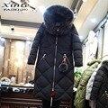 Nueva Llegada de Corea Del Largo de Down Jacket Women Mujer con piel de Zorro Real Natural Bola Capucha Outwear Invierno Cálido