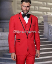 2016 New Arrival Red Wedding Suits For Men Red shawl Lapel Morning Suits Tuxedos For Men Groomsmen Suits 3 Pieces Men Suits