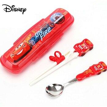 Vajilla de Disney, palillos para aprendizaje de niños, palillos de entrenamiento para bebés, palillos chinos auxiliares, juego de cucharas y palillos de práctica