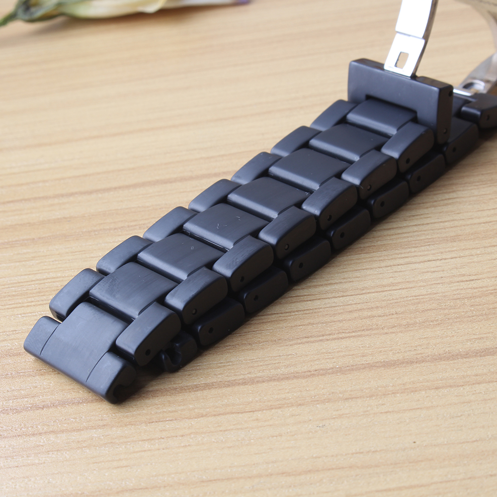 Watchbands Watches accessories black pure Ceramic Watch straps bracelets 18mm 20mm 22mm brushed watchbands Straight ends matte in Watchbands from Watches