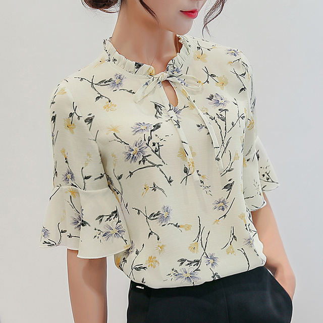 731a260c02fdf9 Summer Office Lady Bottom Shirt Women Flowers Print Blouses Fashionable  Short Sleeve Casual Chiffon Shirts Ruffle