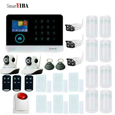 SmartYIBA IOS Android APP WiFi GSM Security Alarm System With 3pcs Waterproof Outdoor Cameras 2pcs indoor