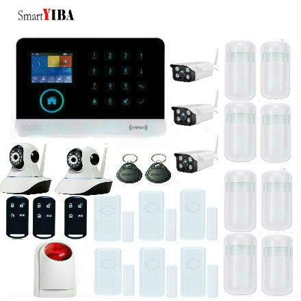 SmartYIBA IOS/Android APP WiFi GSM Sistemi di Allarme Con 3 pz Impermeabile Telecamere Esterne + 2 pz indoor telecamere + Strobo Sirena