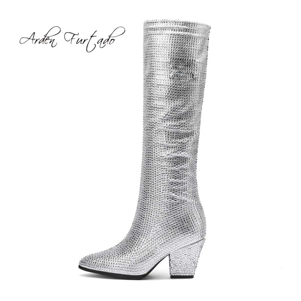 Arden Furtad2018 autumn fashion knee high boots crystal fashion shoes for  woman ladies rhinestone silver gold 93452c6522bd