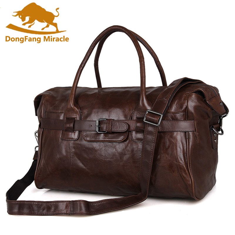 DongFang Miracle Genuine Tanned Cow Leather Classic Luggage Bag Tote Travel Bag For Men s Weekend